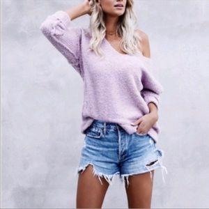 Free People Lofty V-Neck Oversized Sweater S